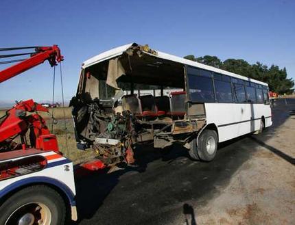 B-Double Truck hits school bus